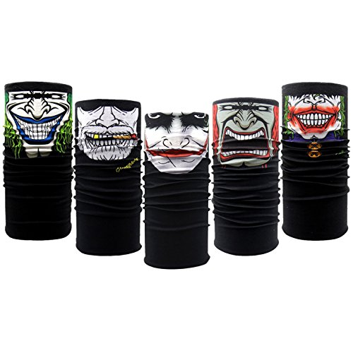 10PCS Riding Motorcycle Versatile Sports Half Face Mask Black Clown Bandana Seamless Universal Breathable Tube by CSPRING